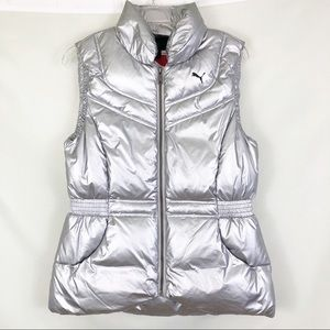 Puma Silver Down Jacket Vest Sz Medium